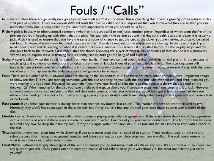 """Fouls / """"Calls"""""""