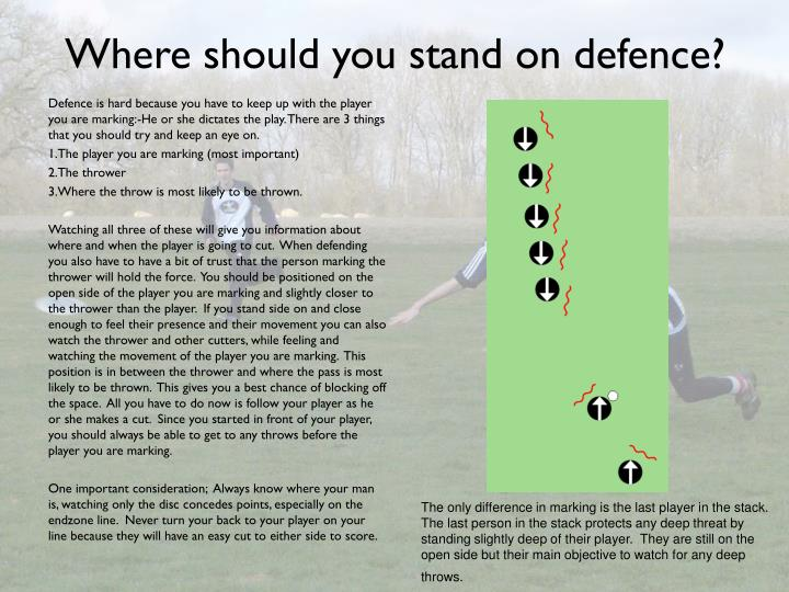 Where should you stand on defence?