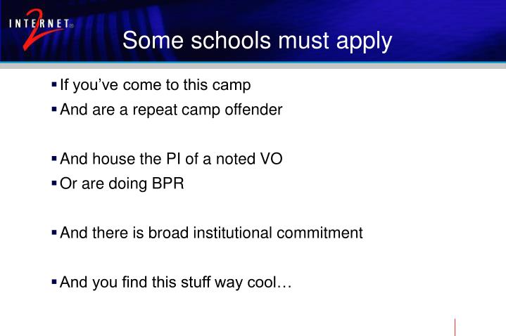 Some schools must apply