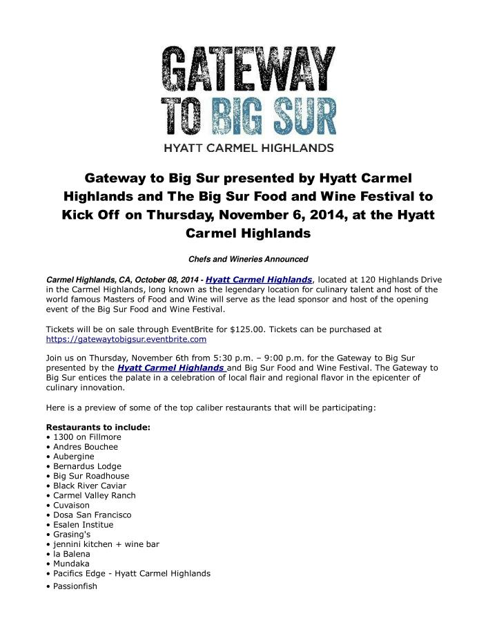 Gateway to big sur presented by hyatt carmel highlands 5294369