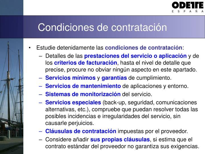 Condiciones de contratación