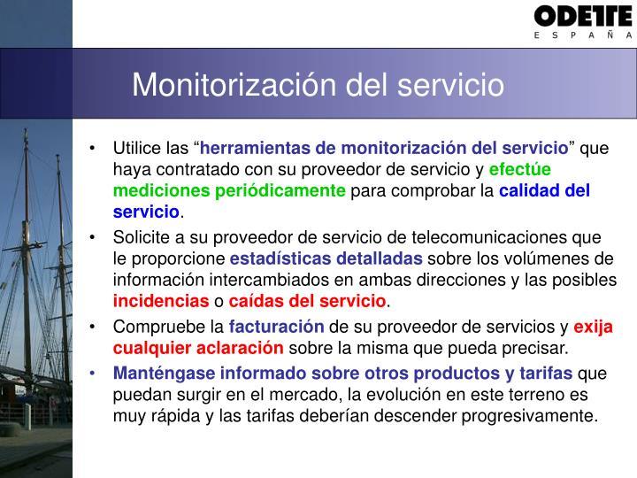 Monitorización del servicio