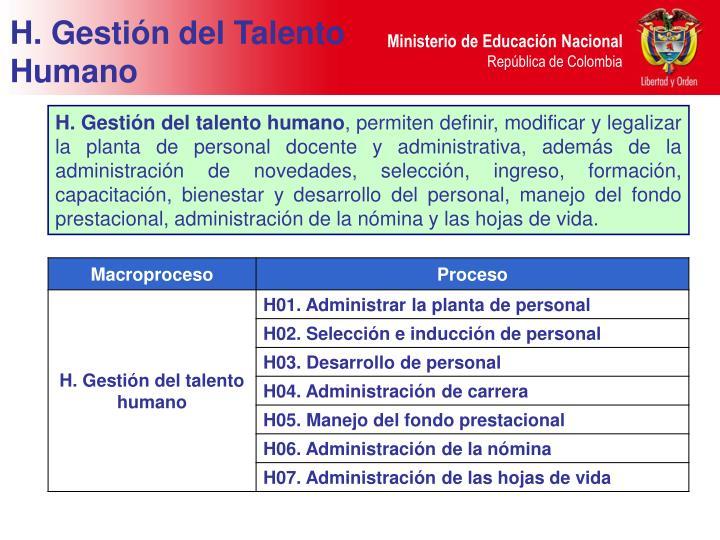 H. Gestión del Talento Humano