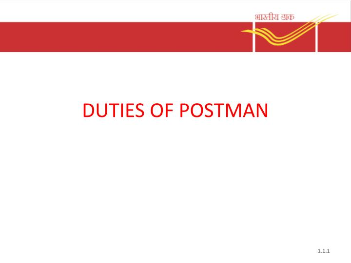 Duties of postman