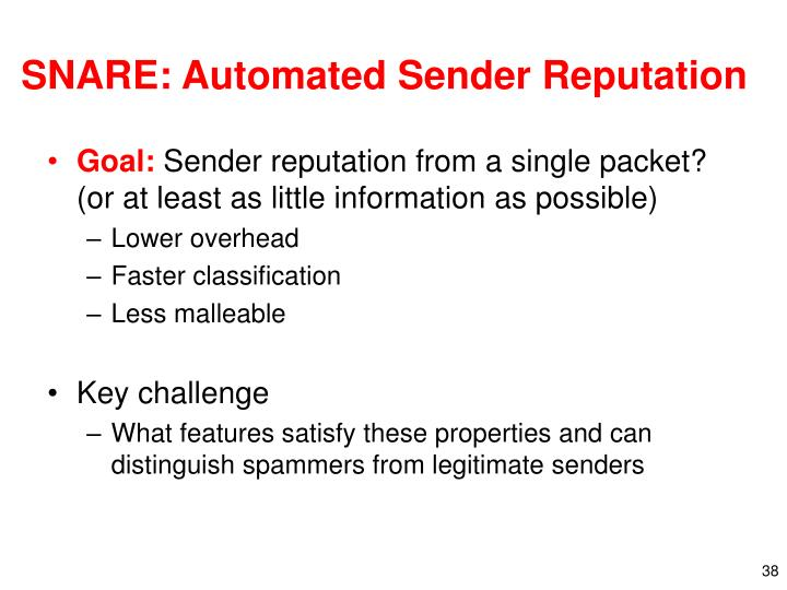 SNARE: Automated Sender Reputation