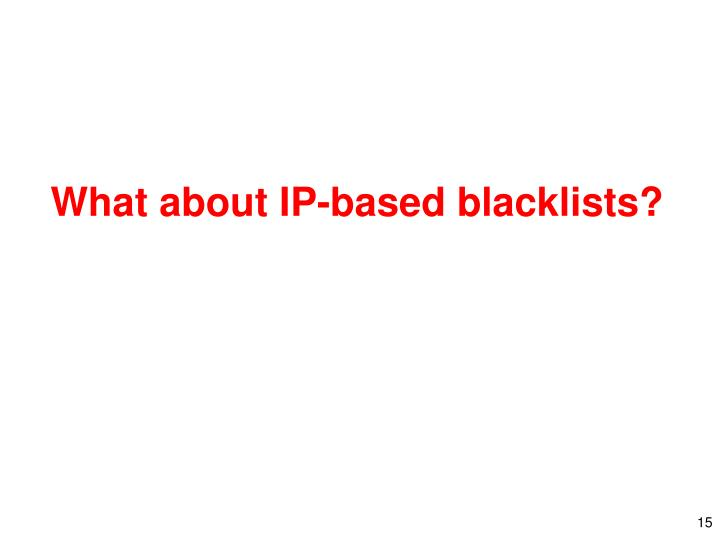 What about IP-based blacklists?