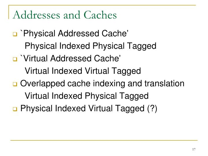 Addresses and Caches