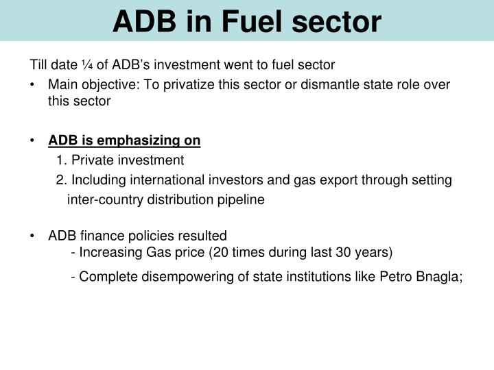 ADB in Fuel sector