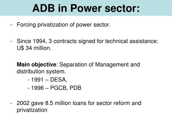 ADB in Power sector: