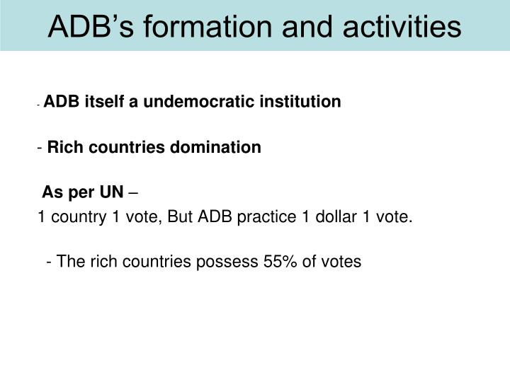 ADB's formation and activities