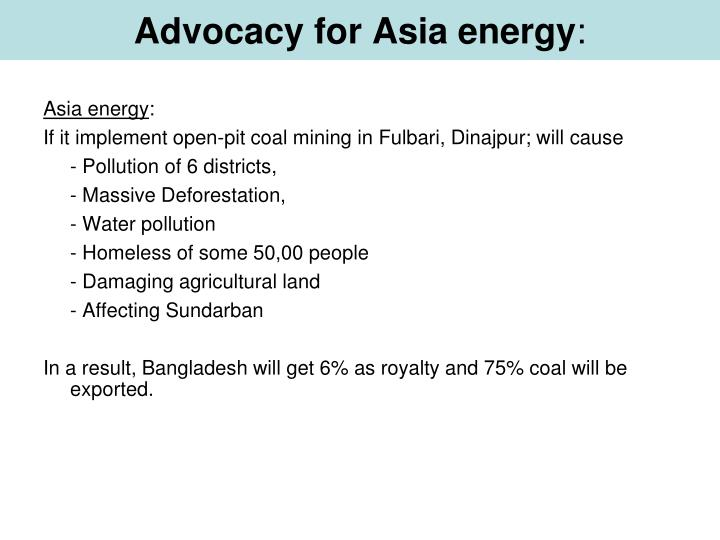 Advocacy for Asia energy