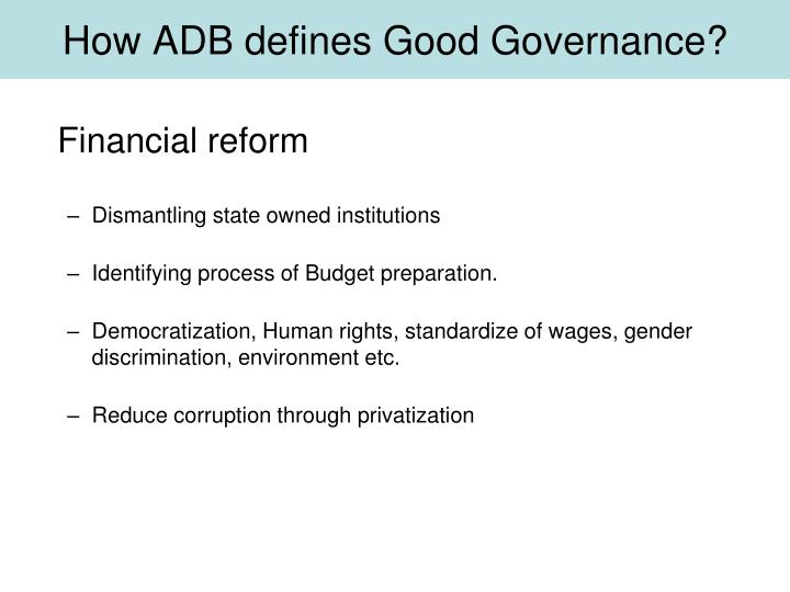 How ADB defines Good Governance?