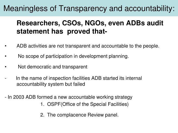 Meaningless of Transparency and accountability: