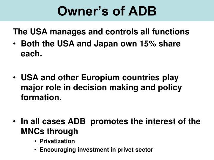 Owner's of ADB