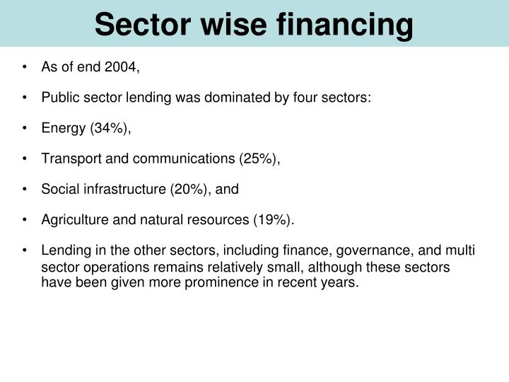 Sector wise financing