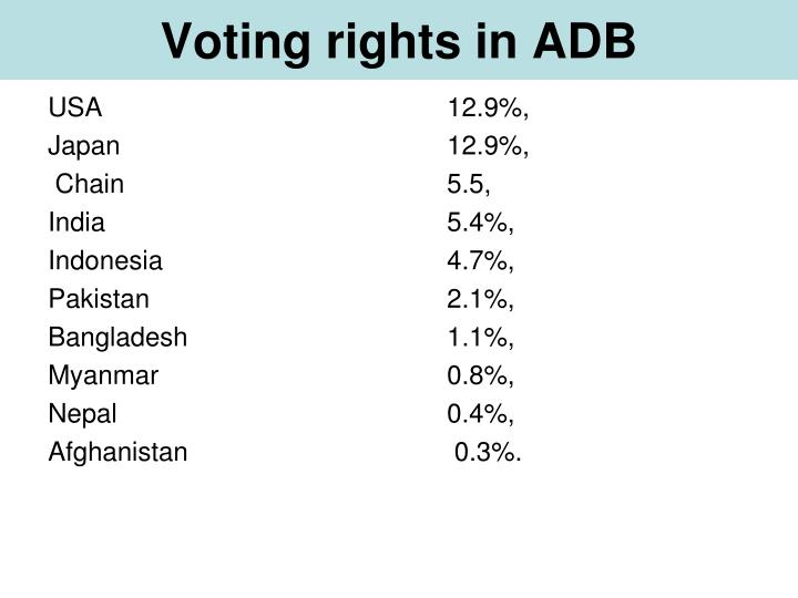 Voting rights in ADB