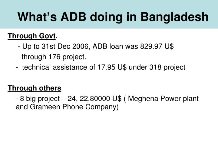 What's ADB doing in Bangladesh