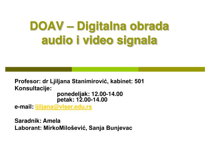 Doav digitalna obrada audio i video signala