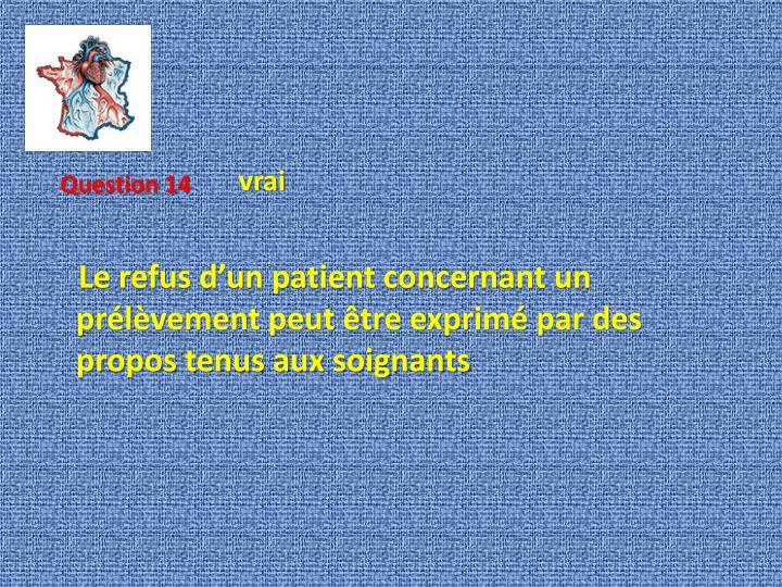 Le refus d'un patient concernant un prélèvement peut être exprimé par des propos tenus aux soignants