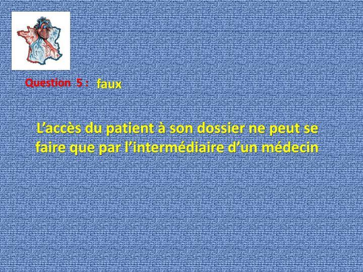 L'accès du patient à son dossier ne peut se faire que par l'intermédiaire d'un médecin