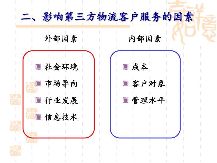 二、影响第三方物流客户服务的因素