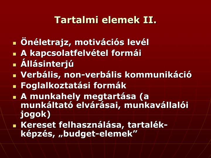 Tartalmi elemek II.