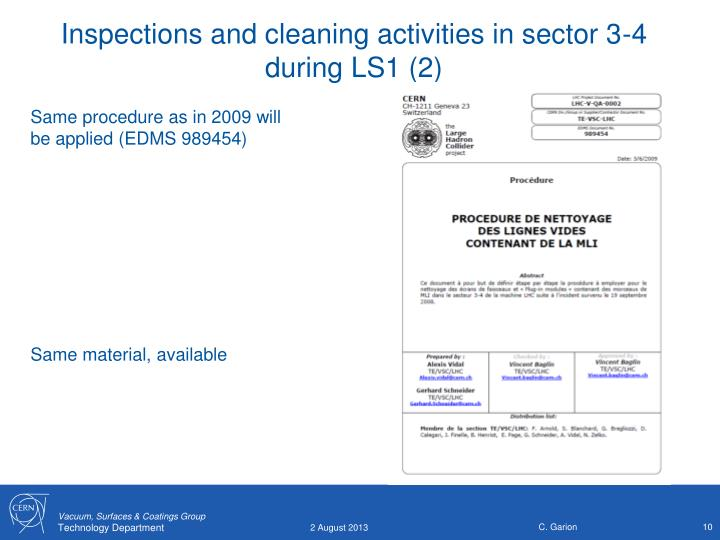 Inspections and cleaning activities in sector 3-4 during