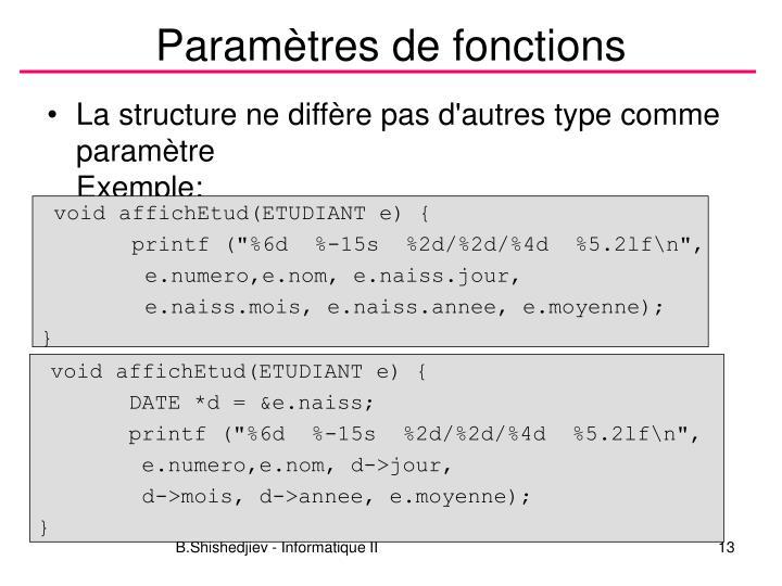 Paramètres de fonctions