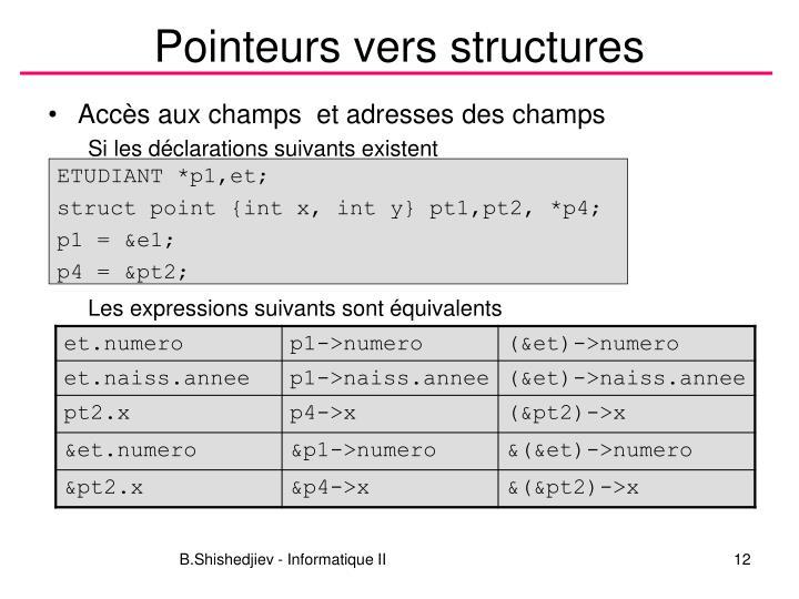 Pointeurs vers structures