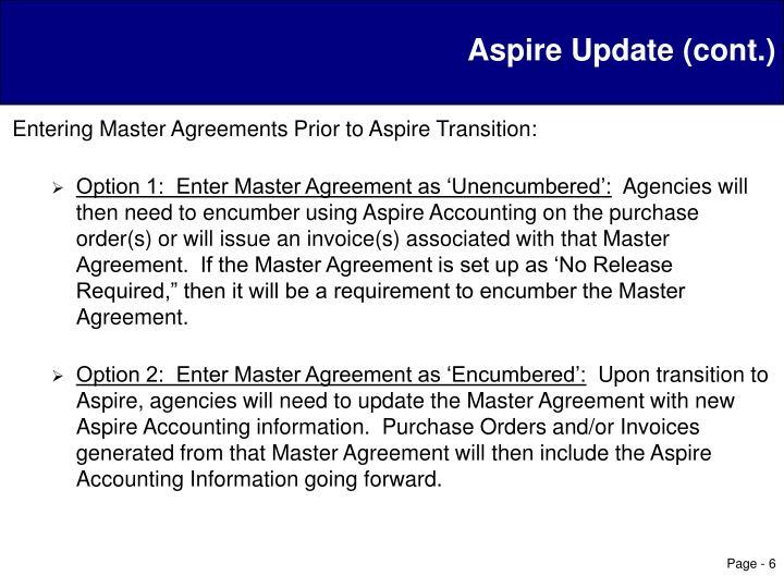 Aspire Update (cont.)
