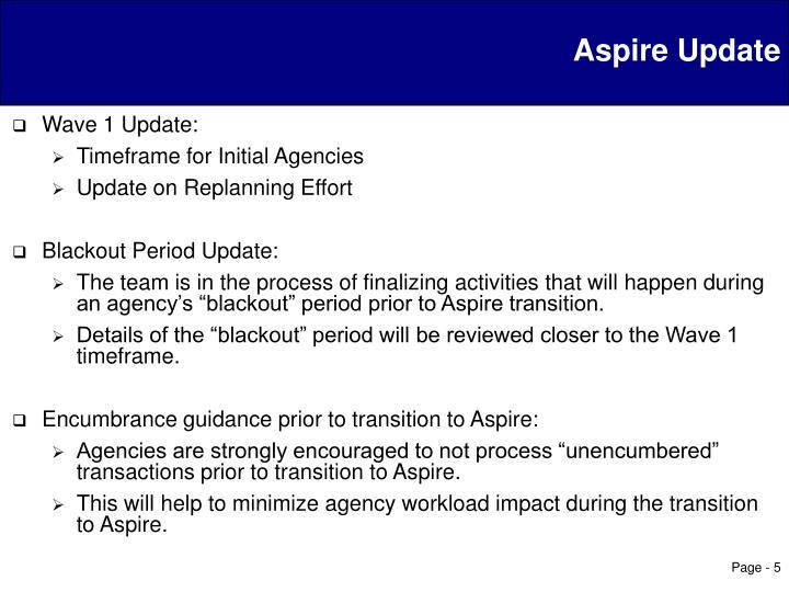 Aspire Update
