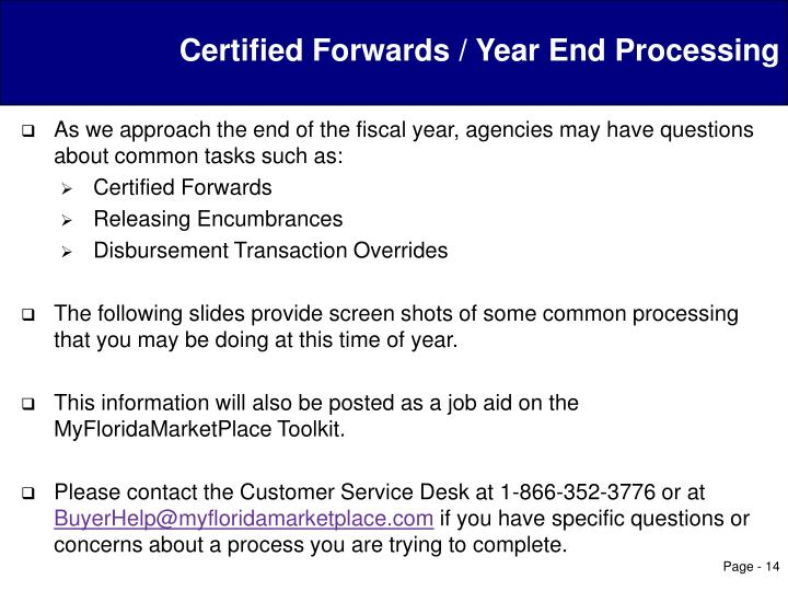 Certified Forwards / Year End Processing