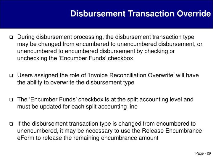 Disbursement Transaction Override