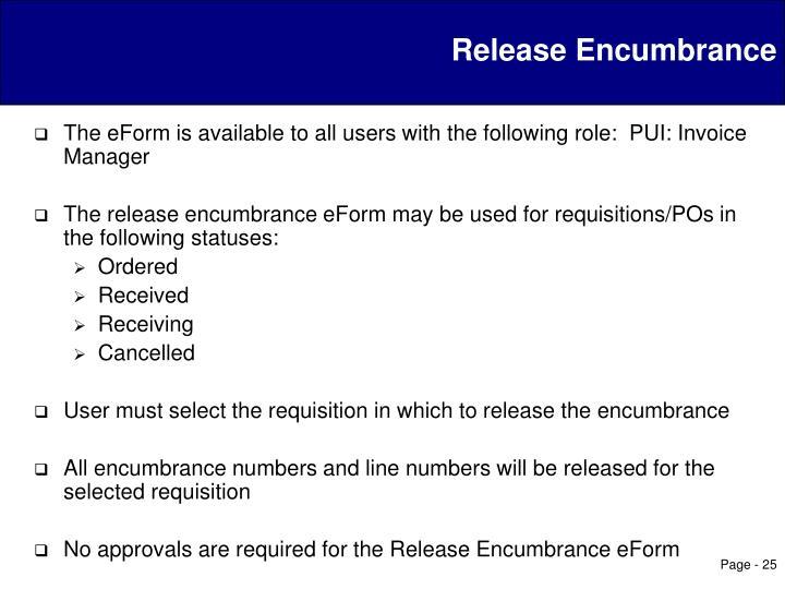 Release Encumbrance