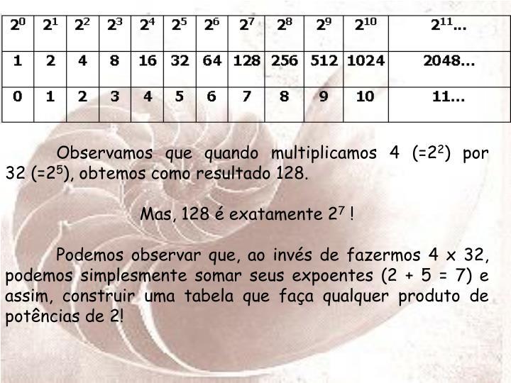Observamos que quando multiplicamos 4 (=2