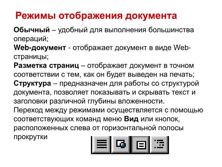 Режимы отображения документа