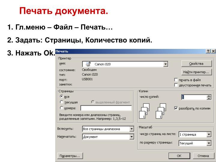 Печать документа.
