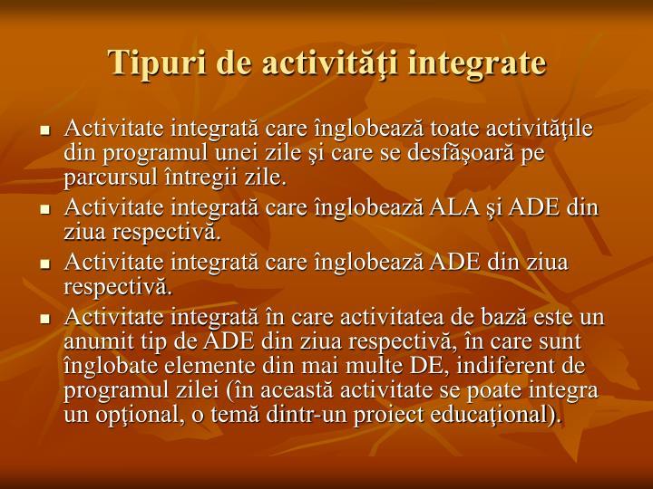 Tipuri de activităţi integrate