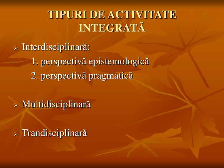 TIPURI DE ACTIVITATE INTEGRAT