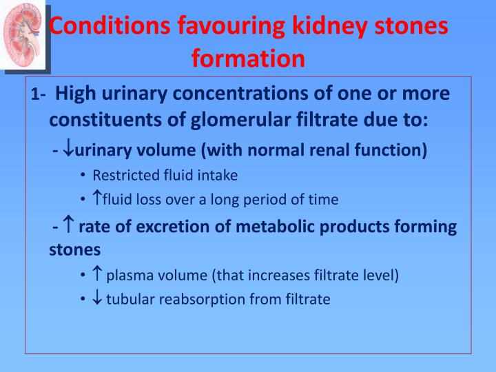 Conditions favouring kidney stones formation