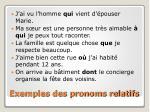 exemples des pronoms relatifs