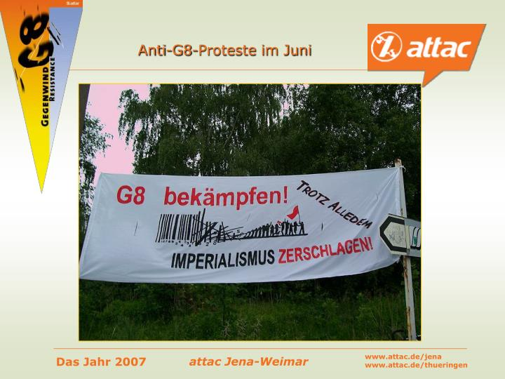 Anti-G8-Proteste im Juni