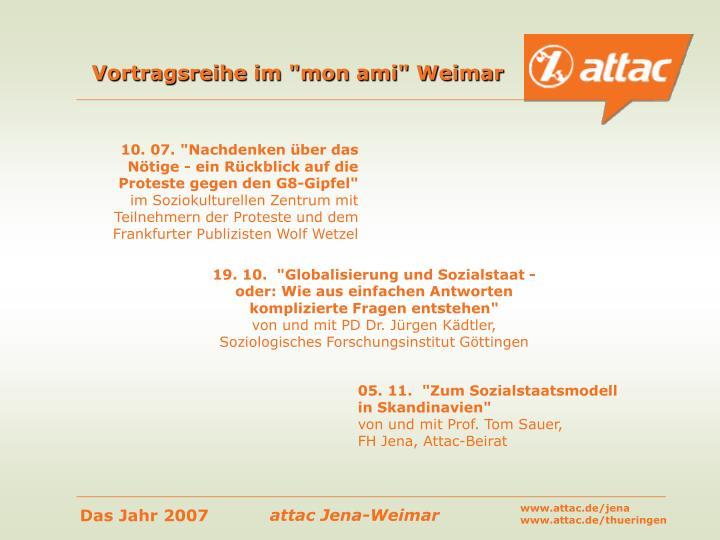 """Vortragsreihe im """"mon ami"""" Weimar"""
