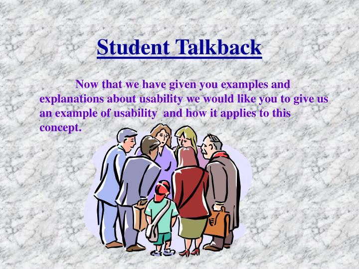Student Talkback