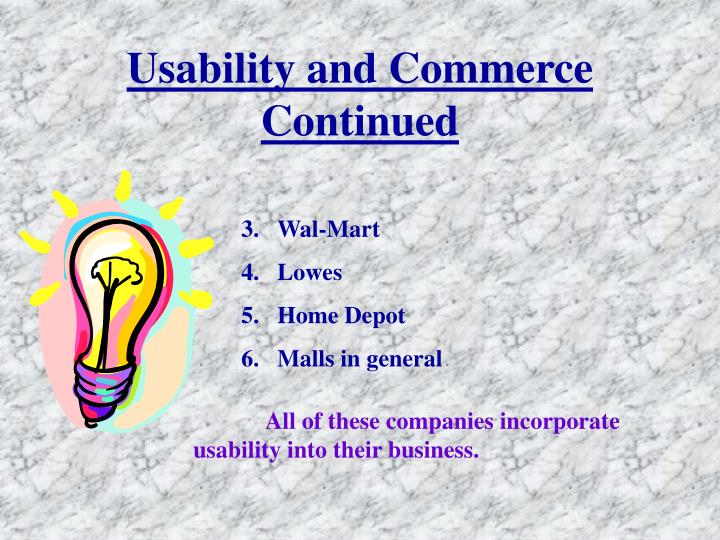 Usability and Commerce Continued