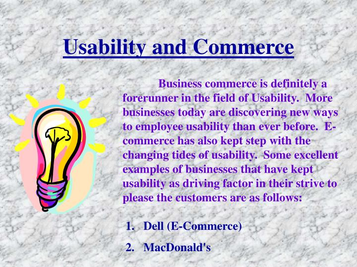 Usability and Commerce