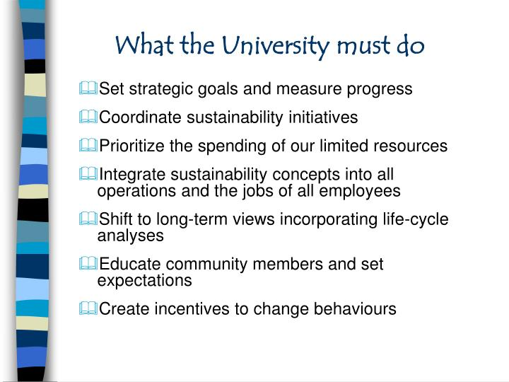 What the University must do