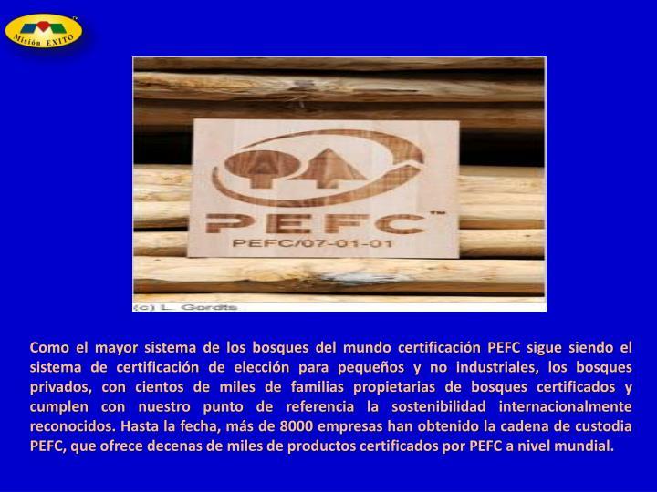 Como el mayor sistema de los bosques del mundo certificación PEFC sigue siendo el sistema de certificación de elección para pequeños y no industriales, los bosques privados, con cientos de miles de familias propietarias de bosques certificados y cumplen con nuestro punto de referencia la sostenibilidad internacionalmente reconocidos