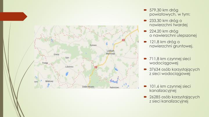 579,30 km dróg powiatowych, w tym: