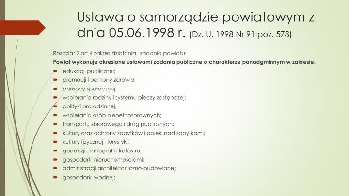 Ustawa o samorządzie powiatowym z dnia 05.06.1998 r.